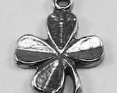 4 x Small Shamrock pendant or charm 1 bail Australian Pewter 4 leaf clover Z291
