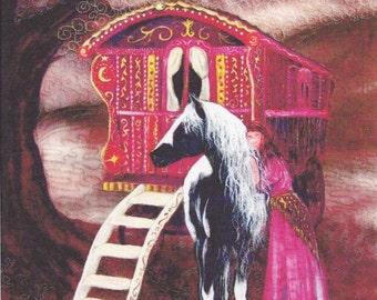 Gypsy Gold Fabric panel. Gypsy vanner horse with Gypsy woman. 17cm x 19cm