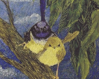 Supurb Fairy wren or Blue wren and Jenny wren  fabric Panel