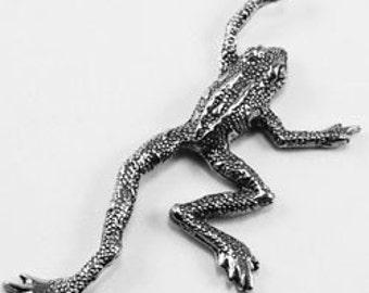 2 x Leaping or climbing Frog paendant  Australian Pewter