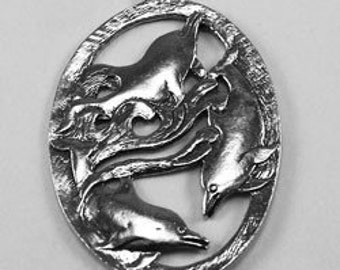 Oval 3 Dolphins  pendant  1 bail Australian Pewter