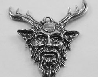 Green Man  with stagg Antlers pendant  or earring  horned celtic god 1 bail Australian Pewter P103