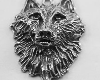 6 x Wolf Head pendant  1 bail Australian Pewter AF214