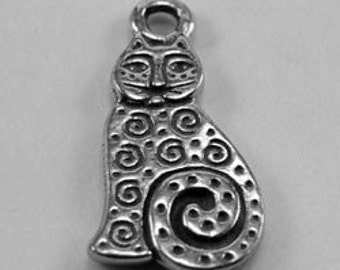 2 x Small Patterned Cat pendant or charm 1 bail Australian pewter