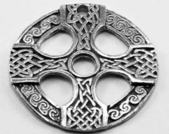 2 x Celtic Short Circle Cross pendant 1 hole Australian Pewter (R94)