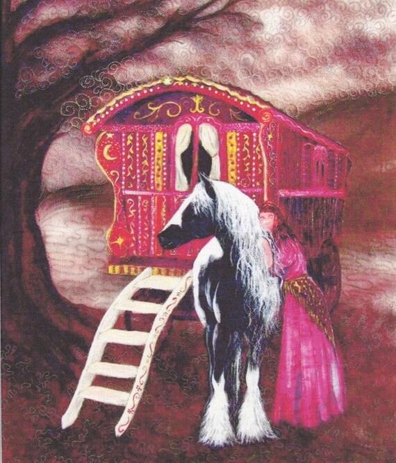 Gypsy Gold fabric Panel. Gypsy Vanner Horse and Gypsy Woman 20x24cm
