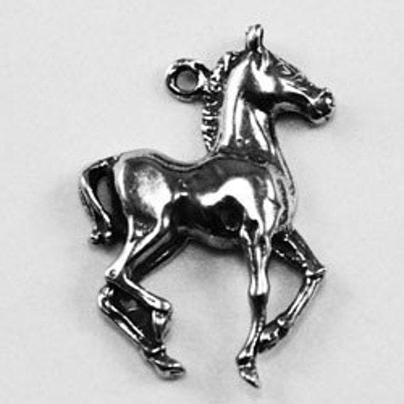 2 x Tiny Horse charm or pendant 1 bail Australian Pewter AF052