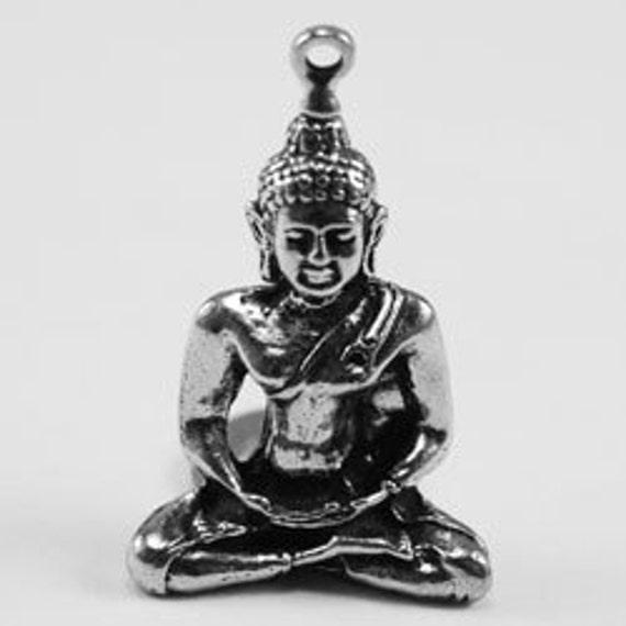 Medium Buddha pendant 1 bail  Australian Pewter