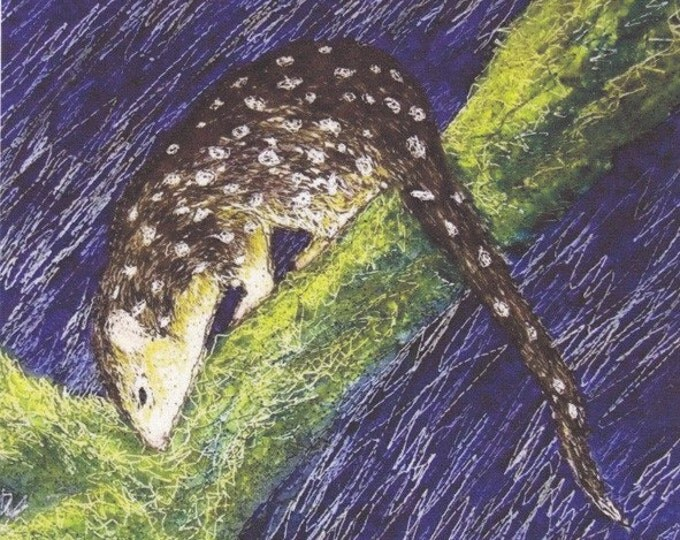 Tasmanian Spotted Quoll Fabric panel Australian Animals