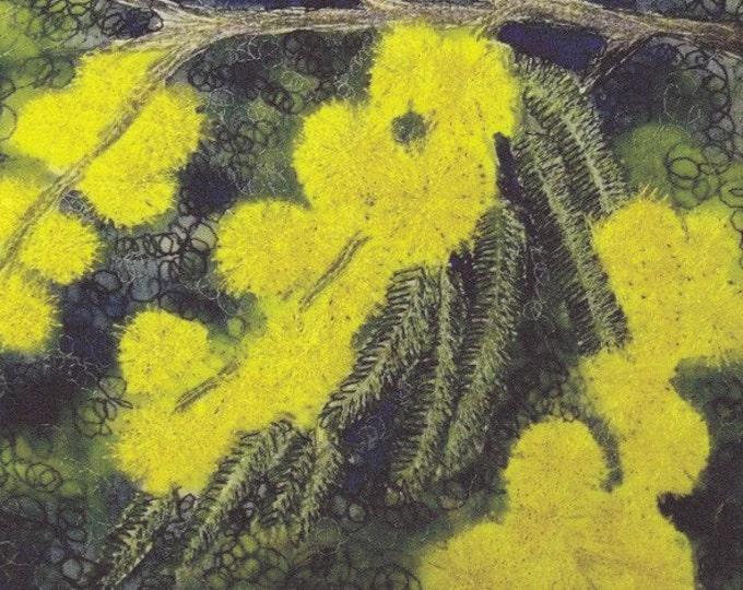 Wattle flower fabric panel native Tasmanian Australian Tree