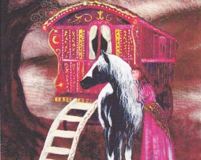 Gypsy Gold Fabric panel. Gypsy vanner horse with Gypsy woman. 27cm x 31cm