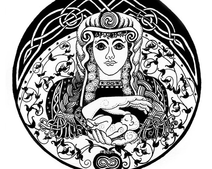 "Celtic Goddess Fabric Panel 100% cotton black and white ""Brighid"" Bridgett  By Cindy Watkins 20.5 cm x 20.5 cm"