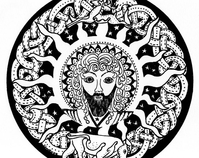 Celtic Sun God Lugh Black and white fabric panel By Cindy Watkins 21.5cm x 21.5cm