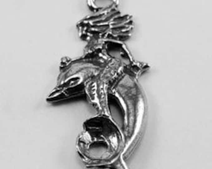 2 x Mermaid & Dolphin pendant charm 1 bail Australian Pewter Af377