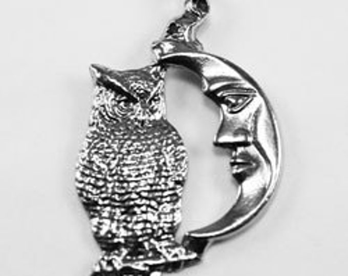 Moon & Owl pendant  1 bail Australian made pewter M11