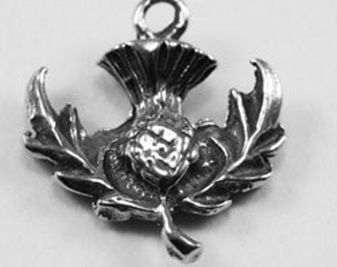 10 x Small Scots Thistle pendant or charm 1 bail Australian pewter z324
