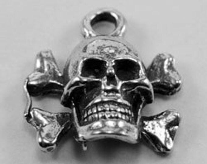 2 x Small Skull & Cross Bones charm or pendant 1 bail australian pewter z590