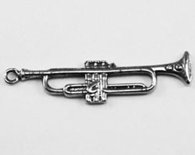 2 x Trumpet pendant or charm 1 bail Australian Pewter
