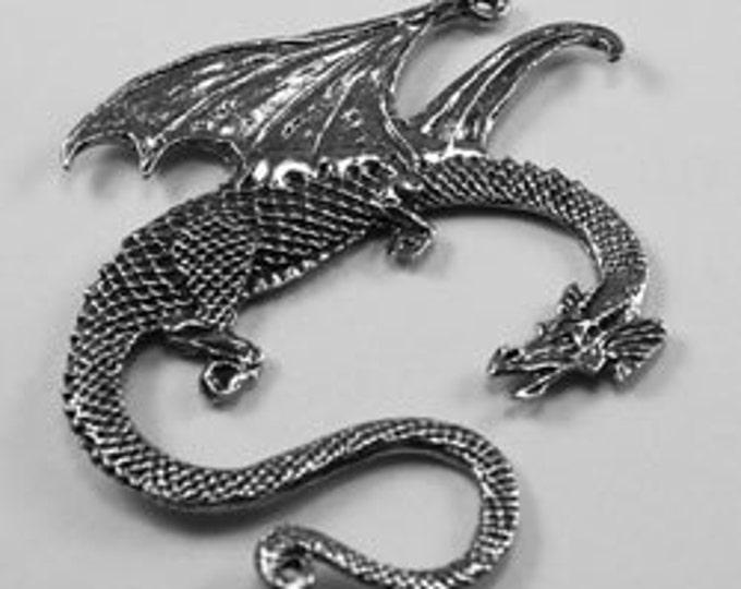 4 x Dragon pendant or suncatcher 2 bails Australian Pewter DR30