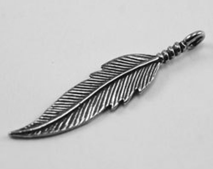 2 x Feather charm or pendant Australian pewter z333