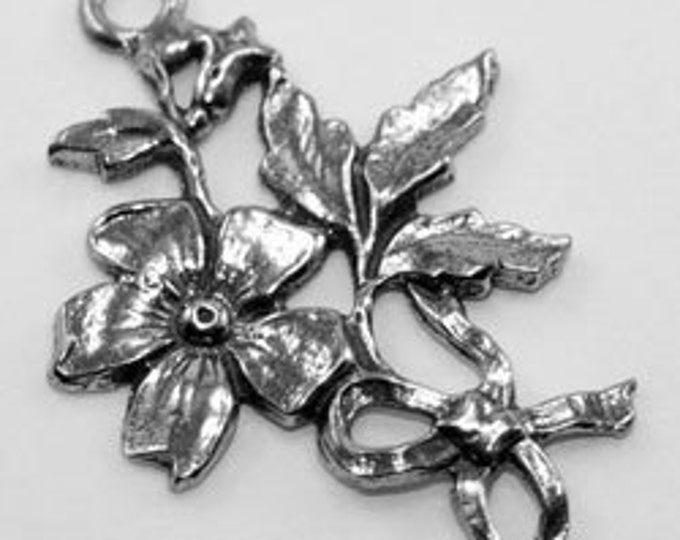 2 x Flower Bow Joiners with 2 bails Australian Pewter Z304