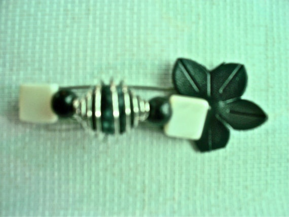 """Handmade """"Assymetrical Black 'n' White Beauty"""" Beaded Pin Brooch w/ Leather Handcrafted Jewelry"""