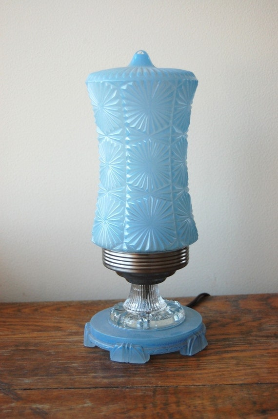 Vintage Art Deco Boudoir Table Lamp Pale Blue Glass