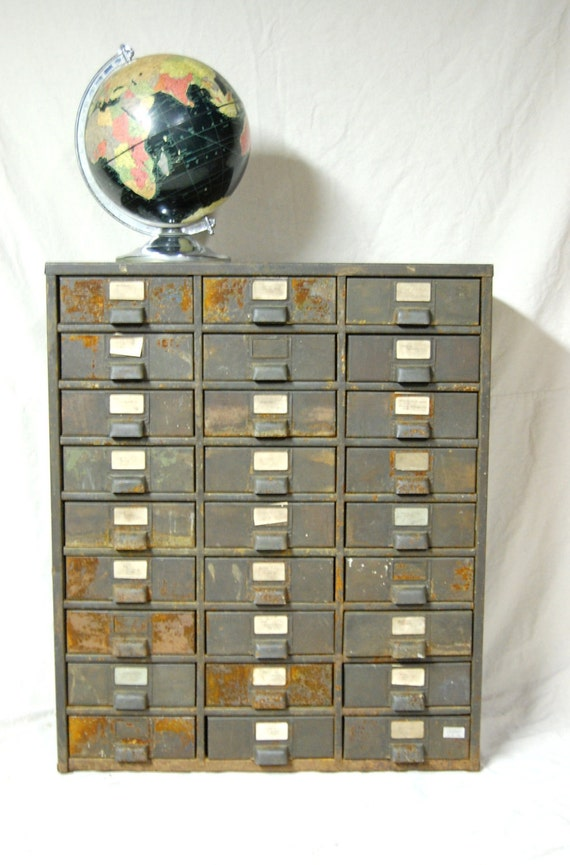 Large Rustic Industrial 27 Drawer Metal Cabinet