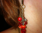 Czech Glass Beaded Earrings in Antique Brass, Red and Orange