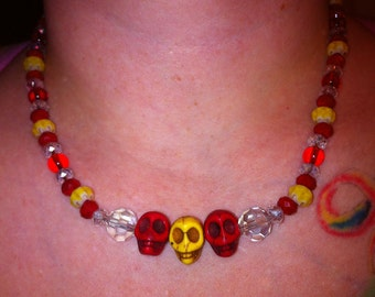 Skully Necklace in Red and Yellow