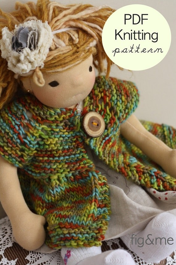 Nanette Doll Jacket, PDF knitting pattern