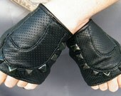 Martine Leather Gloves with buckles and Studs, LAST PAIR SMALL ONLY- SALE