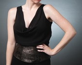 Silk Cowl blouse with embossed leather waist