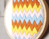 Zig Zag Embroidery Wall Decoration / OOAK