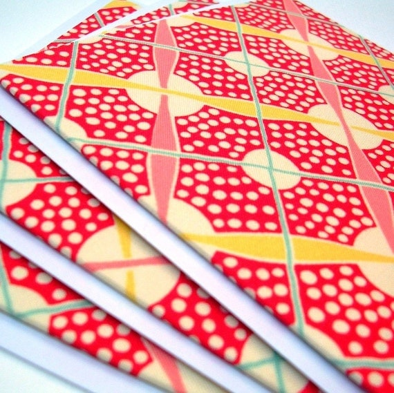 Red and Yellow Fabric Greeting Card