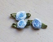 Ribbon Rose Appliques 293.4 - 2 Tone Light Blue Rose with leaf - 24 pcs