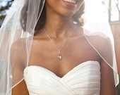 Clear crystal teardrop necklace and earring set - wedding jewelry - Bridal jewelry -