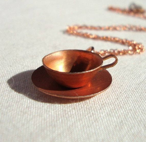Vintage Modern Copper Teacup Necklace