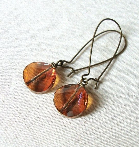 Crystal Copper Coin Earrings
