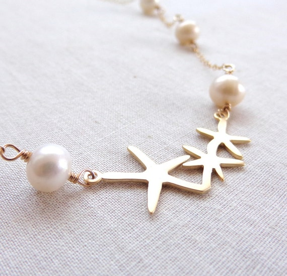 Beach Wedding Necklace - Matte Gold Starfish and Freshwater Pearl Necklace