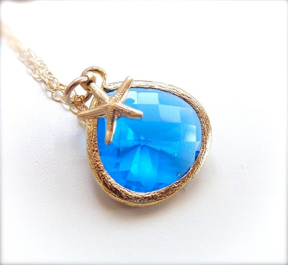 Blue Glass Pendant with Starfish Charm Necklace - 14k Gold Fill Necklace