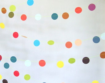 confetti paper garland - party decoration - rainbow party