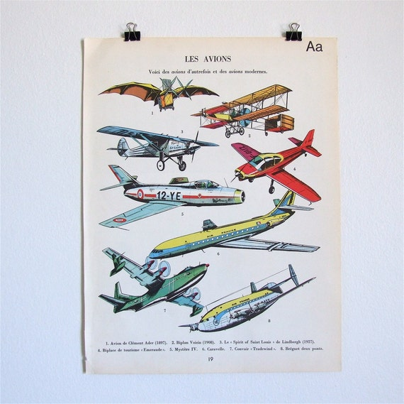 french vintage book plate - les avions 1965