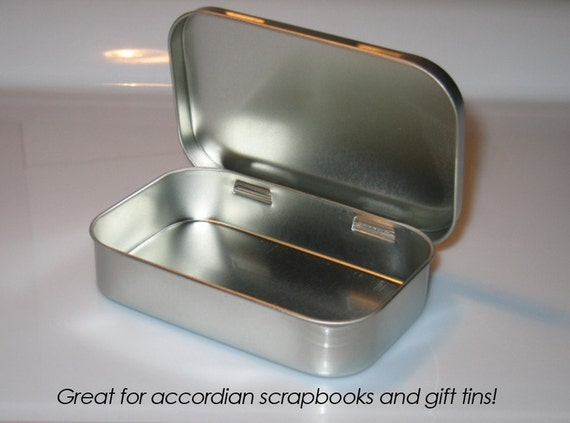 25 Hinged Metal Tins---Altoid Size---Platinum---LOWEST PRICE ON ETSY--New Low Price--95 cents each