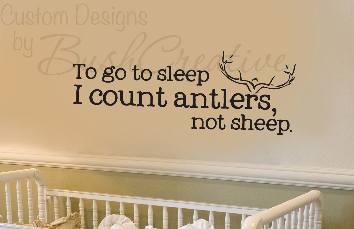 Wall decals nursery hunting deer baby humor 039 33 for Baby boy wall mural