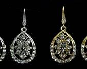 Art Deco Wedding Earrings, Swarovski Crystal Dangle Bridal Jewelry, Silver or Gold, DECO