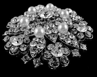 Crystal Pearl Bridal Brooch, Flower Broach, Rhinestone Wedding Brooch, Swarovski Wedding Jewelry, Silver Bridal Jewelry, NICOLE