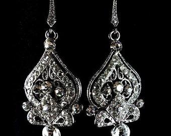 Victorian Wedding Earrings, Ornate Bridal Jewelry, Swarovski Crystal Earrings, Dangle Jewelry, ALISHA