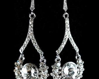 SALE - Swarovski Bridal Earrings, Crystal Cluster Jewelry, Rhinestone Earrings, Silver Jewelry, ATARIA