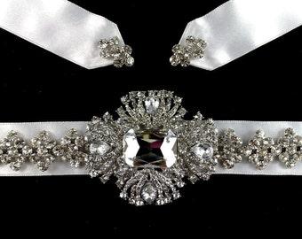 Art Deco Bridal Sash, Gatsby Wedding Belt, Statement Gatsby Sash, Bridal Dress Jewelry, Crystal Wedding Sash, Swarovski Bridal Belt, ELLE